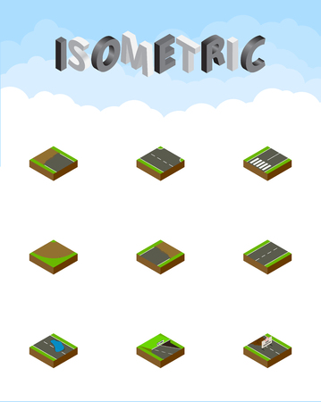 Isometric Way Set Of Underground, Rightward, Plash And Other Vector Objects. Also Includes Rightward, Sand, Incomplete Elements. Çizim