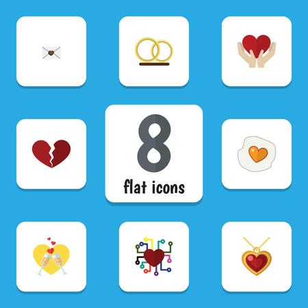 Icône plate passion ensemble de brouillé, sauver l'amour, le divorce et d'autres objets vectoriels. Inclut également le collier, la main, les éléments de courrier.