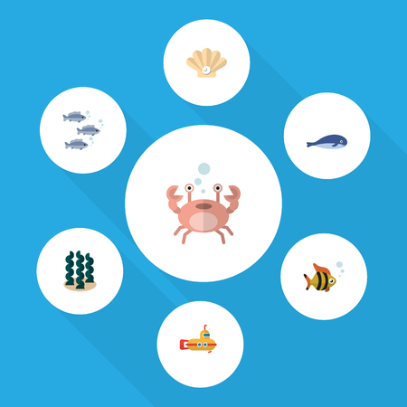Flat Icon Sea Set Of Cachalot, Periscope, Cancer And Other Vector Objects. Also Includes Seaweed, Pearl, Alga Elements.