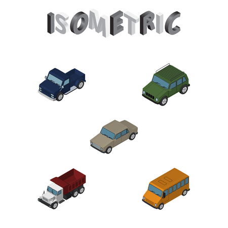 truck: Isometric Transport Set Of Autobus, Auto, Freight And Other Vector Objects. Also Includes Freight, Auto, Suv Elements. Illustration