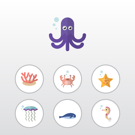 Flat Icon Marine Set Of Cancer, Tentacle, Sea Star And Other Vector Objects. Also Includes Jellyfish, Medusa, Tentacle Elements.