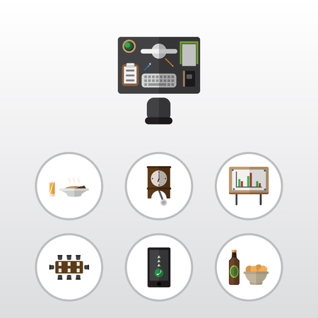 comfort classroom: Flat Icon Oneday Set Of Beer With Chips, Bureau, Boardroom And Other Vector Objects. Also Includes Office, Whiteboard, Beer Elements. Illustration
