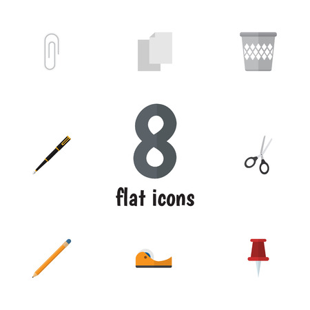 sheet metal: Flat Icon Equipment Set Of Fastener Page, Clippers, Sheets And Other Vector Objects. Also Includes Pointer, Basket, Tool Elements.