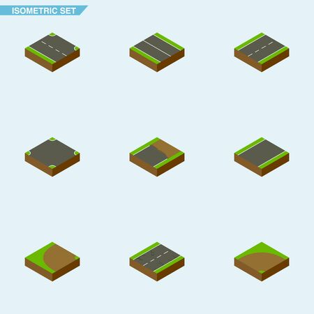 Isometric Road Set Of Rightward, Unilateral, Unfinished And Other Vector Objects. Also Includes Turning, Driveway, Unfinished Elements.