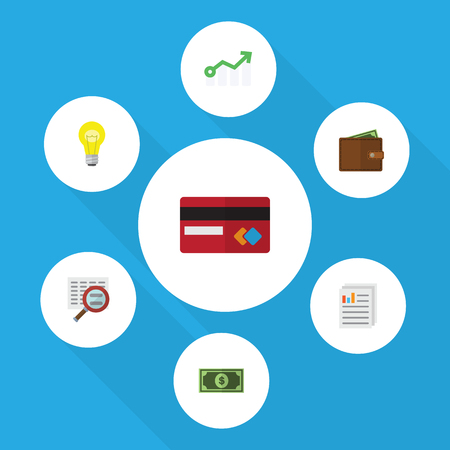 Flat Icon Gain Set Of Billfold, Growth, Scan And Other Vector Objects. Also Includes Credit, Scan, Diagram Elements.