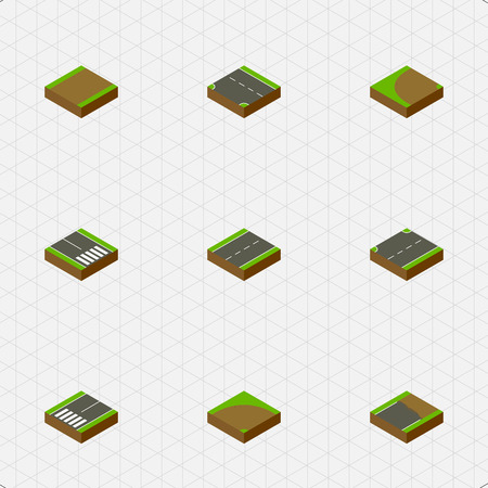 Isometric Way Set Of Unfinished, Footpassenger, Pedestrian And Other Vector Objects. Also Includes Unfinished, Highway, Turn Elements.
