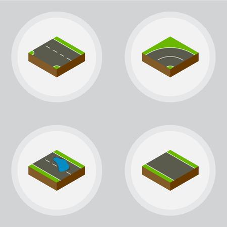 等尺性道路 Plash、ストリップ、下方と他のベクトル オブジェクトなしのセットです。ストリップ、要素の Plash も含まれています。  イラスト・ベクター素材