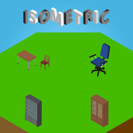 Isometric Furniture Set Of Chair, Sideboard, Cabinet And Other Vector Objects. Also Includes Armchair, Cupboard, Chair Elements.