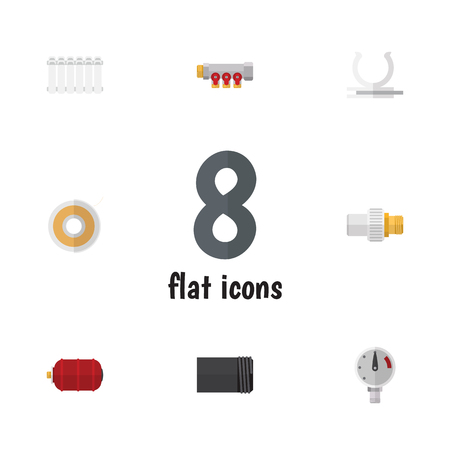 Flat Icon Sanitary Set Of Roll, Radiator, Container And Other Vector Objects. Also Includes Heater, Tape, Roll Elements.