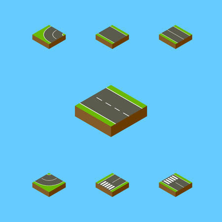 Isometric Way Set Of Single-Lane, Way, Footpassenger And Other Vector Objects. Also Includes Strip, Driveway, Lane Elements.