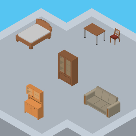 Isometric Furniture Set Of Cabinet, Couch, Bedstead And Other Vector Objects. Also Includes Settee, Chair, Wardrobe Elements.