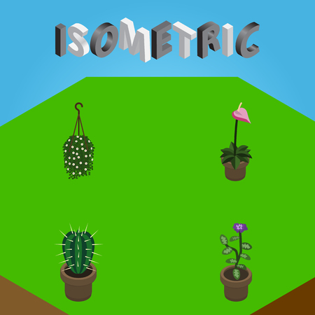 Isometric Houseplant Set Of Grower, Blossom, Flower And Other Vector Objects