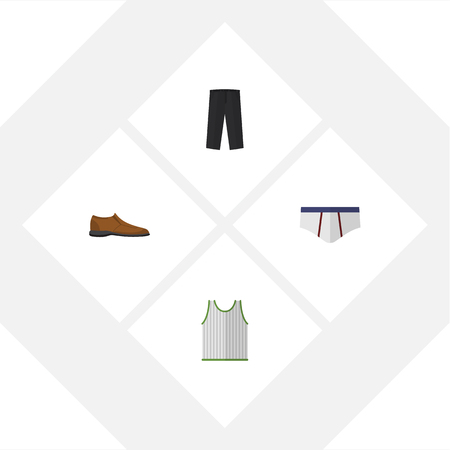 Flat Icon Dress Set Of Male Footware, Underclothes, Singlet And Other Vector Objects Illustration