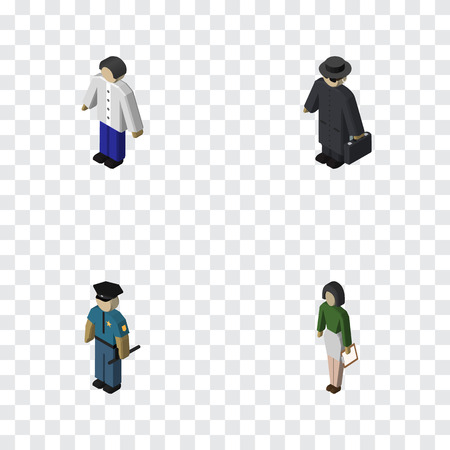 Isometric Human Set Of Pedagogue, Male, Detective And Other Vector Objects Illustration