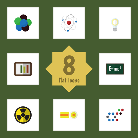 irradiation: Flat Icon Science Set Of Diagram, Irradiation, Proton And Other Vector Objects