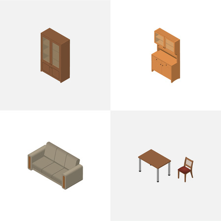 Isometric Furnishing Set Of Couch, Cabinet, Cupboard And Other Vector Objects Illustration