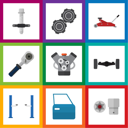 Flat Icon Service Set Of Suspension, Auto Jack, Lifting And Other Vector Objects Illusztráció