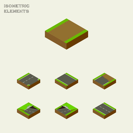 unilateral: Isometric Road Set Of Unfinished, Underground, Single-Lane And Other Vector Objects