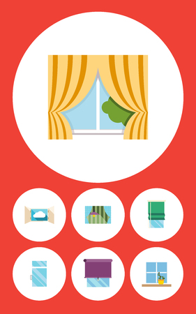 veranda: Flat Icon Frame Set Of Balcony, Cloud, Glazing And Other Vector Objects