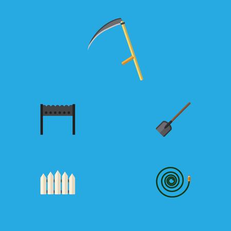 Ensemble d'icônes plates ensemble de barbecue, barrière en bois, couteau et autres objets vectoriels