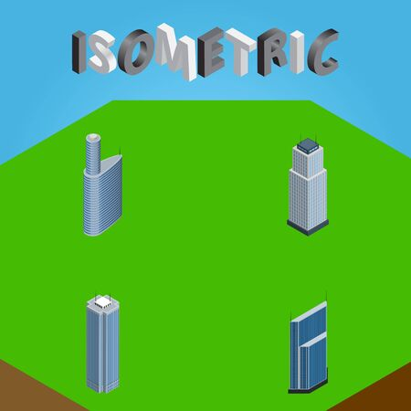 Isometric Skyscraper Set Of Residential, Skyscraper, Tower And Other Vector Objects