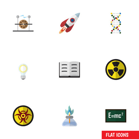 Flat Icon Knowledge Set Of Theory Of Relativity, Danger, Genome And Other Vector Objects Illustration