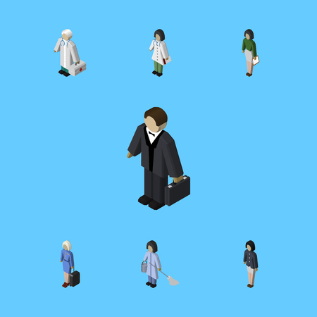 Isometric Human Set Of Doctor, Girl, Investor, Businessman, Cleaner, Housemaid Elements.