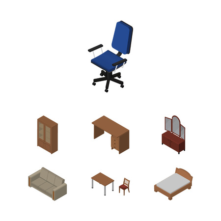 Isometric Furniture Set Of Couch, Bedstead, Chair And Other Vector Objects. Also Includes Armchair, Chair, Couch Elements.