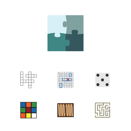 backgammon: Flat Icon Entertainment Set Of Backgammon, Cube, Dice And Other Vector Objects