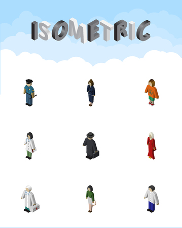 Isometric Human Set Of Doctor, Male, Lady And Other Vector Objects. Also Includes Lady, Hospital, Detective Elements.