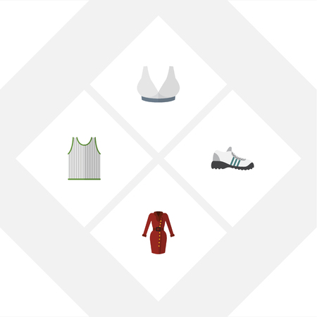 Flat Icon Dress Set Of Sneakers, Clothes, Brasserie And Other Vector Objects.