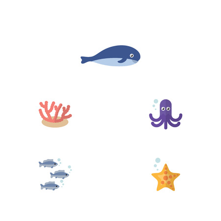 cachalot: Flat Icon Sea Set Of Cachalot, Tentacle, Sea Star And Other Vector Objects.