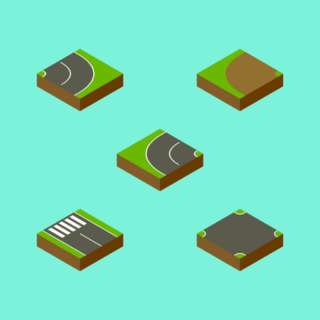 Isometric Road Set Of Asphalt, Strip, Crossroad And Other Vector Objects. Also Includes Turning, Intersection, Rotation Elements. Illustration