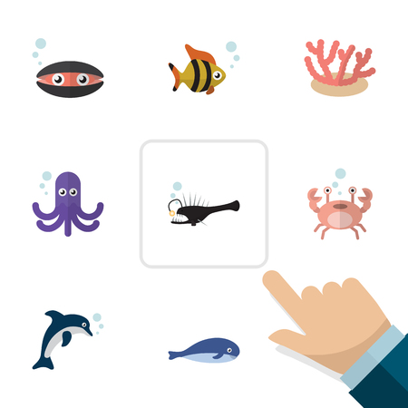 Flat Icon Marine Set Of Cachalot, Cancer, Seafood And Other Vector Objects