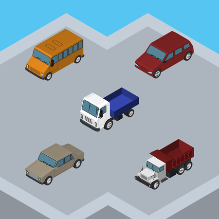 car speed: Isometric Car Set Of Auto, Freight, Lorry And Other Vector Objects