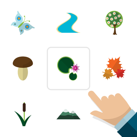 Flat Icon Ecology Set Of Lotus, Peak, Champignon And Other Vector Objects Illustration