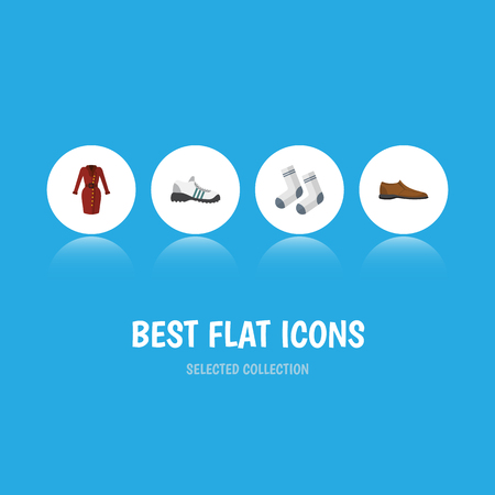 Flat Icon Clothes Set Of Sneakers, Male Footware, Foot Textile And Other Vector Objects Illustration