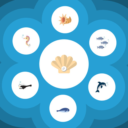 Flat Icon Nature Set Of Cachalot, Fish, Conch And Other Vector Objects