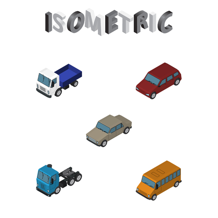 moving truck: Isometric Car Set Of Autobus, Auto, Car And Other Vector Objects Illustration