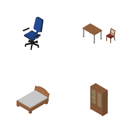 Isometric Furnishing Set Of Cabinet, Bedstead, Office And Other Vector Objects Illustration