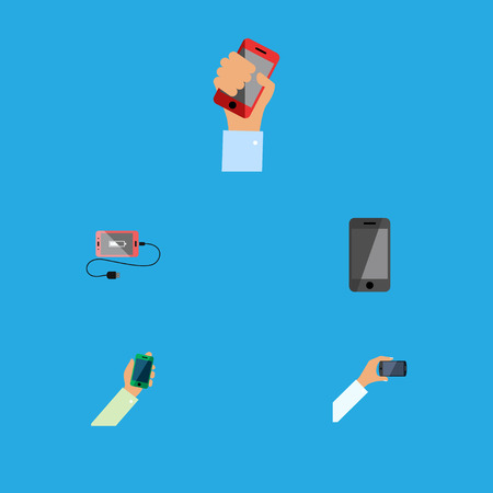 Flat Icon Touchscreen Set Of Telephone, Smartphone, Keep Phone And Other Vector Objects. Also Includes Cellphone, Smartphone, Phone Elements.