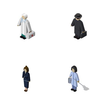 Isometric Person Set Of Detective, Housemaid, Businesswoman And Other Vector Objects. Also Includes Worker, Housemaid, Lady Elements. Illustration