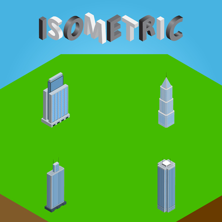 Isometric Skyscraper Set Of Exterior, Urban, Skyscraper And Other Vector Objects Illustration