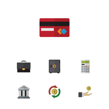 mastercard: Flat Icon Incoming Set Of Bank, Calculate, Hand With Coin Vector Objects. Also Includes Architecture, Mastercard, Calculate Elements. Illustration