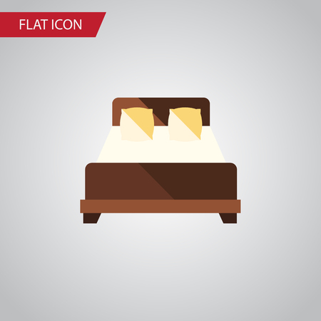 Isolated Double Bed Flat Icon Stock Vector - 82441052