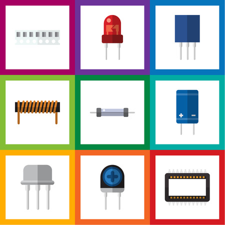Flat Icon Technology Set Of Recipient, Resistor, Transducer And Other Vector Objects