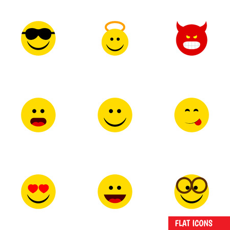 Flat Icon Face Set Of Wonder, Pouting, Pleasant And Other Vector Objects Illustration
