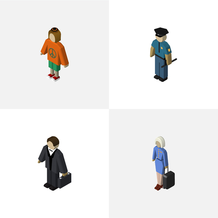 Isometric Human Set Of Investor, Lady, Hostess And Other Vector Objects