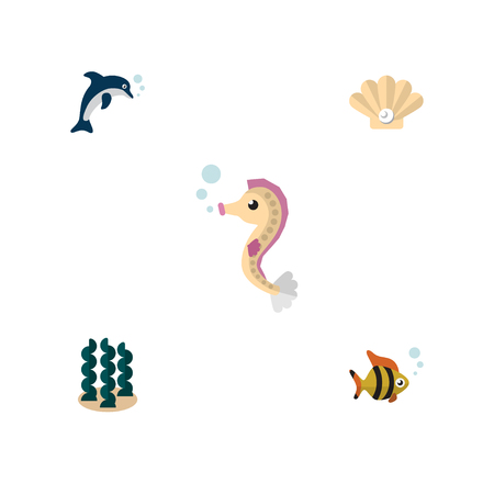 Flat Icon Sea Set Of Playful Fish, Seafood, Conch And Other Vector Objects