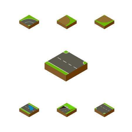 Isometric Road Set Of Rotation, Plash, Subway And Other Vector Objects Illustration